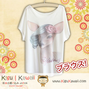 New Pretty Deer Fashionable Loose and High Quality Spring and Summer Tshirt Free Size KK434