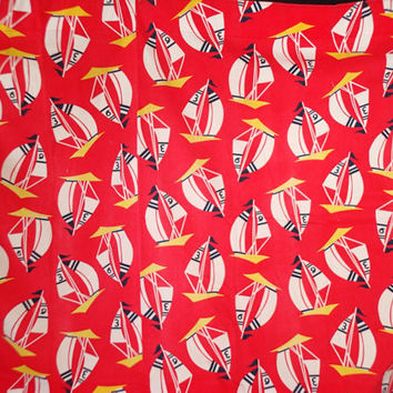 Nautical Curtain Panels, Screen print Sail boats yellow and black on red background, set of 2,  Vintage cotton novelty broadcloth fabric