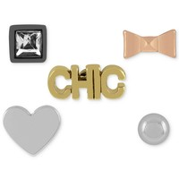 "BCBGeneration Earring Set, Multi-Tone Cube, Bow, Heart, ""Chic"" and Round Stud Earrings"