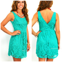 SZ LARGE Crews Hill Emerald Lace Fit & Flare Dress