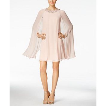$178 New Vince Camuto Women's Embellished Flyaway Cape Blush Pink Dress Size 6