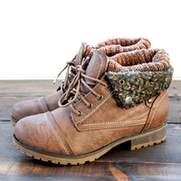 cozy womens sweater boots - brown