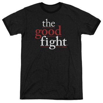 The Good Fight Ringer T-Shirt Logo Black Tee