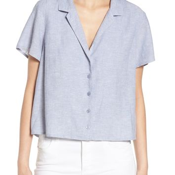 BP. Linen Blend Camp Shirt | Nordstrom