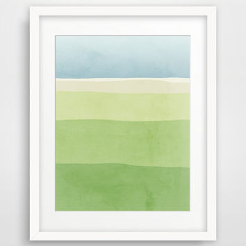 Blue and Green Minimalist Poster, Abstract Landscape Art Print, Nature Art