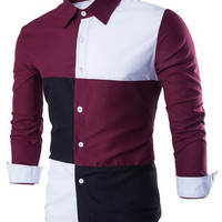Color Block Long Sleeve Button Down Shirt