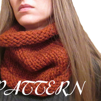 Instant Download - Cowl Knitting Pattern - Lion Brand Wool Ease Thick & Quick - Size 13 Needle - Chunky