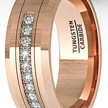 CERTIFIED 8mm Rose Gold Tungsten Carbide Ring 11 Cubic Zircon Mens Wedding Band