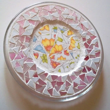 Stained Glass Mosaic Plate: Mosaic Trivet, Pique Assiette, Pink, Cottage Chic