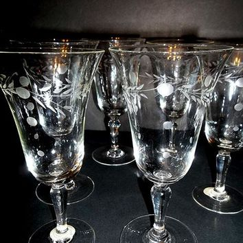Laurel Leaf Etched Set of 6 Stemware