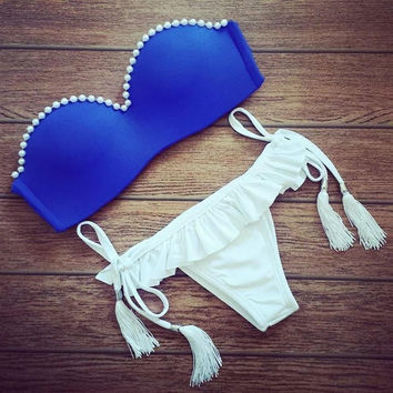 Blue Pearl Swimsuit Push up Triangle Bikini Set