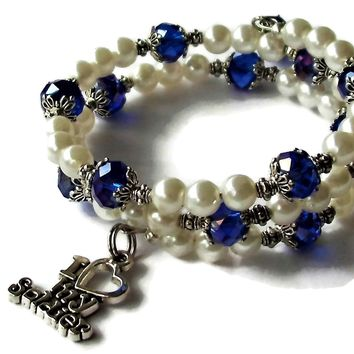"""I Heart My Soldier"" Deep Blue Swarovski Crystal & White Pearl Beaded Artisan Crafted Wrap Bracelet"