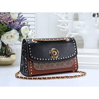 COACH 2019 new female snake rivet chain shoulder messenger bag #1