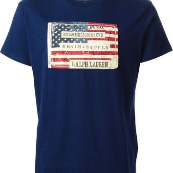 Ralph Lauren Denim & Supply distressed american flag applique T-shirt