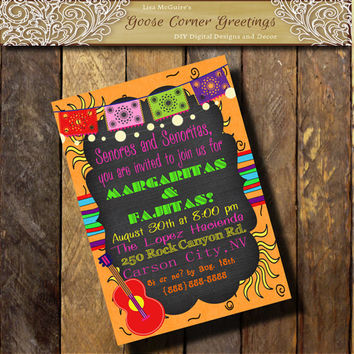 Mexican FIESTA Party Invitation Southwest invitation TEX MEX Invitation Banner Guitar 15th  20th 40th Birthday Shower Pink Orange Purple