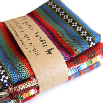 South American Fabric, Peruvian Fabric, Woven Fabric Bundle, 4 Large Pieces
