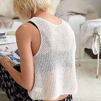 Cropped Mesh Tank, Heather Frost