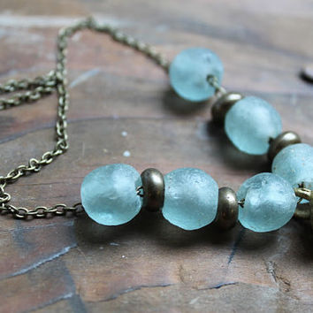 FROSTED Bohemian Necklace Rustic long Bronze necklace Statement Wild Air Glass beads Tribal Rustic Water drops Light Blue