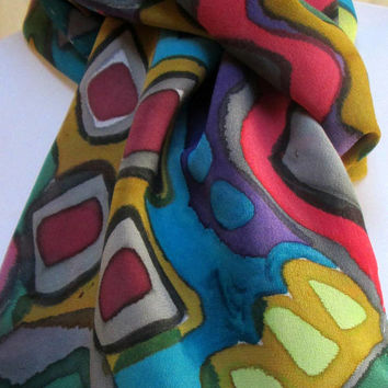 Silk Scarf Accessory Hand painted - Chiffon silk-Abstract design- fashionista gift for her- Handmade in NY Hudson Valley - one of a kind