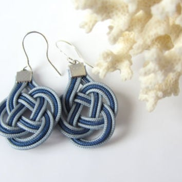 Blue and Gray Knot Earrings Nautical Chinese Prosperity Double Coin Celtic Knot Dangles Gift for Sailor Beach Jewelry Mom Gift for Teacher
