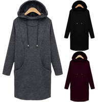 Plus Size Fashion Womens Long Sleeve Coat Hoodie Jacket Sweater Outwear Tops Mini Dress XL 2XL 3XL 4XL 5XL = 1958499780