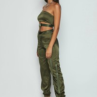 Into the Night Satin Cargo Buckle Two Piece Set Olive