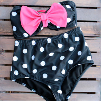 high waisted pin up style polka dot bow bikini