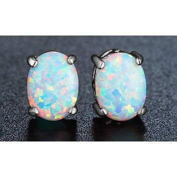 3.00 CT Oval Cut Opal Stud Earring in 18K White Gold Plated
