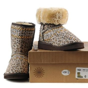 UGG Women Fashion Leopard Wool Snow Boots Half Boots Shoes-1