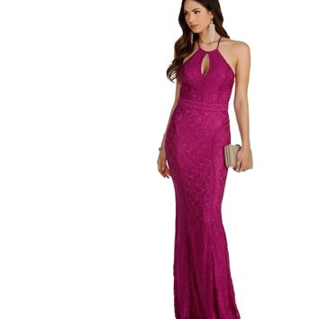 Valerie- Magenta Reign Lace Prom Dress