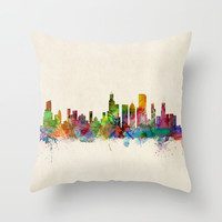 Chicago City Skyline Throw Pillow by ArtPause