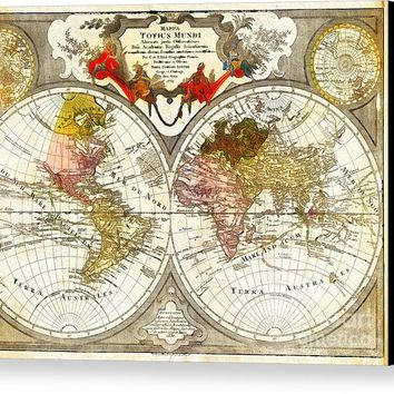 Map Of The World On A Hemisphere Projection Canvas Print