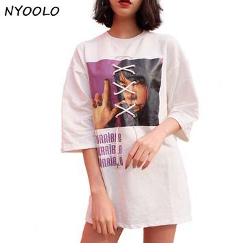 NYOOLO Fashion summer tops streetwear casual cross tie straps letters embroidery Avatar print half sleeve t-shirt women tees