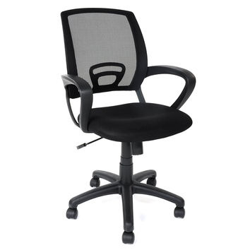 Cheerwing Mid-back Mesh Task Chair Home Office Computer Desk Tilt Chair Study Swivel Chair with ArmsBlack black