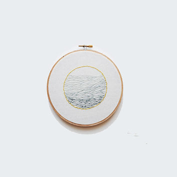 """Troubled Waters - 7"""" Embroidery Hoop - Abstract Wave Pattern"""
