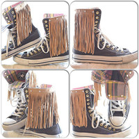 Converse High top, Fringed festival allstar converse shoes, Fringed sneakers, Fringed high tops. True rebel clothing