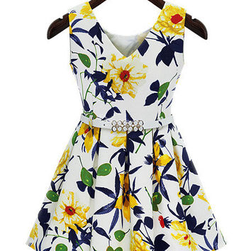 Floral V-neck Sleeveless Sheath Mini Skater Dress with Belt