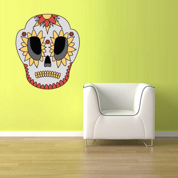 Full Color Wall Decal Mural Sticker Decor Art Beautyfull Cute Sugar Skull Bedroom Curly modern Mask fashion (col590)