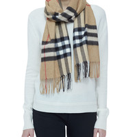 Giant-Check Cashmere Scarf, Size:
