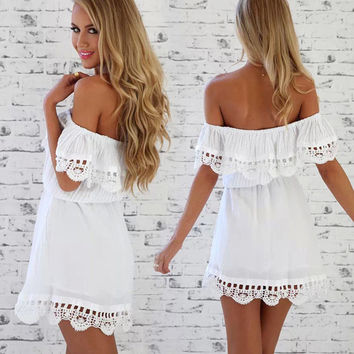 Off- Shoulder Lacy Mini Dress