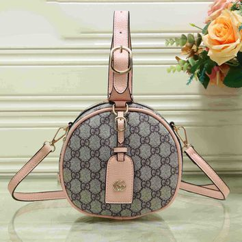 GUCCI Bucket bag Hot Sale Round Type Color Edge Handbag Zipper Bag B-MYJSY-BB Pink