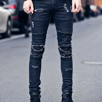Frayed Knee Patches Zipper Fly Skinny Ripped Jeans