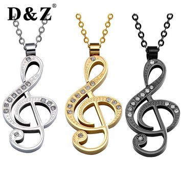 D&Z Trendy Gold Music Note Pendant Silver Chain Stainless Steel Rhinestone Lovely Pendants & Necklaces for Women Jewelry