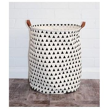 Triangles Canvas Storage Bin with Leather Handles