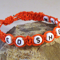 ED SHEERAN Girls Orange Hemp Bracelet Handmade Friendship Surfer Casual