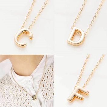 IPARAM 2016 new hot sale fashion Women's Metal Alloy DIY Letter Name Initial Link Chain Charm Pendant Necklace N125