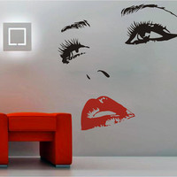 Womens Smile Face Silhouette Hot Lips Eyes Nose Vinyl Decal Wall Sticker Glass Removable Art Decal Decor DIY Mural ! Free shipping!