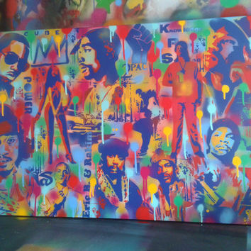 Hip Hop mix painting,stencil art,spray paints,Eastcoast,Westcoast,rap,Los Angeles,New York,America,canvas,pop art,hip hop culture,urban,home
