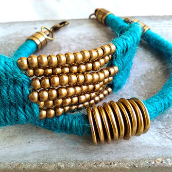 Turquoise and Gold Boho Chic Wrap Bracelet for woman, Woven Boho Beaded Bracelet, Layering Fiber Bracelet, Summer's Favorite Hue, Hot Trend