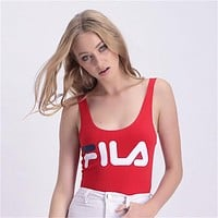 FILA Tide brand female letter print fashion personality one-piece bikini swimsuit red